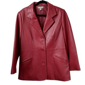 Nordstrom L red lambskin leather dress jacket